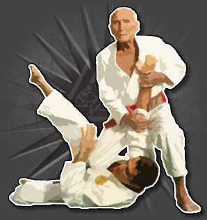 Helio Gracie throwing Royler Gracie